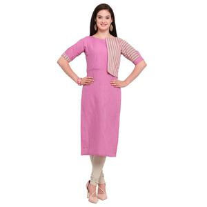 Charming Pink Colored Casual Wear Cotton Kurti