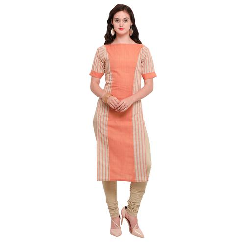 Eye-Catching Light Orange Colored Casual Wear Cotton Kurti