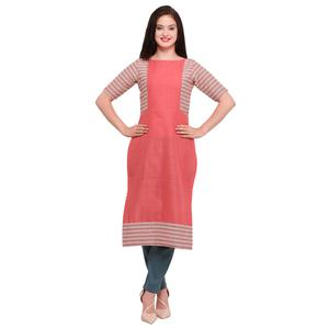 Amazing Peach Colored Casual Wear Cotton Kurti