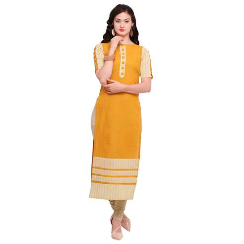 Stunning Yellow Colored Casual Wear Cotton Kurti