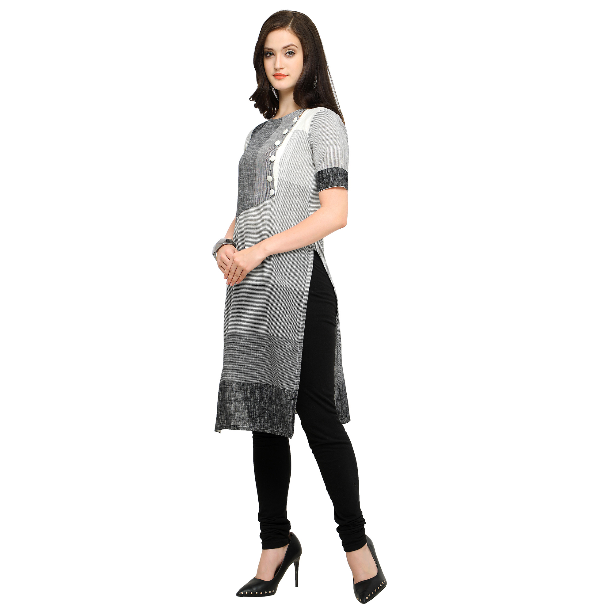 Opulent Gray Colored Casual Wear Cotton Kurti