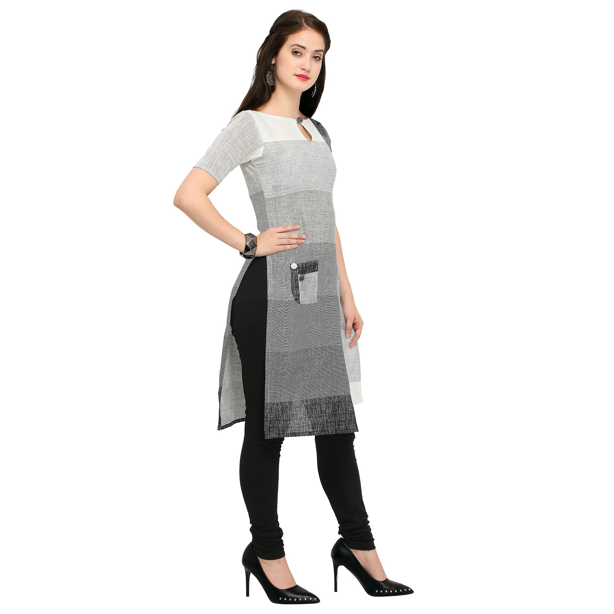 Lovely Gray Colored Casual Wear Cotton Kurti