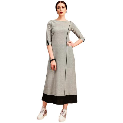 Attractive Light Grey Colored Partywear Printed Cotton Long Kurti