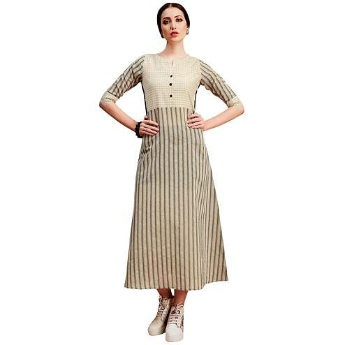 Stylish Beige Colored Partywear Printed Cotton Long Kurti