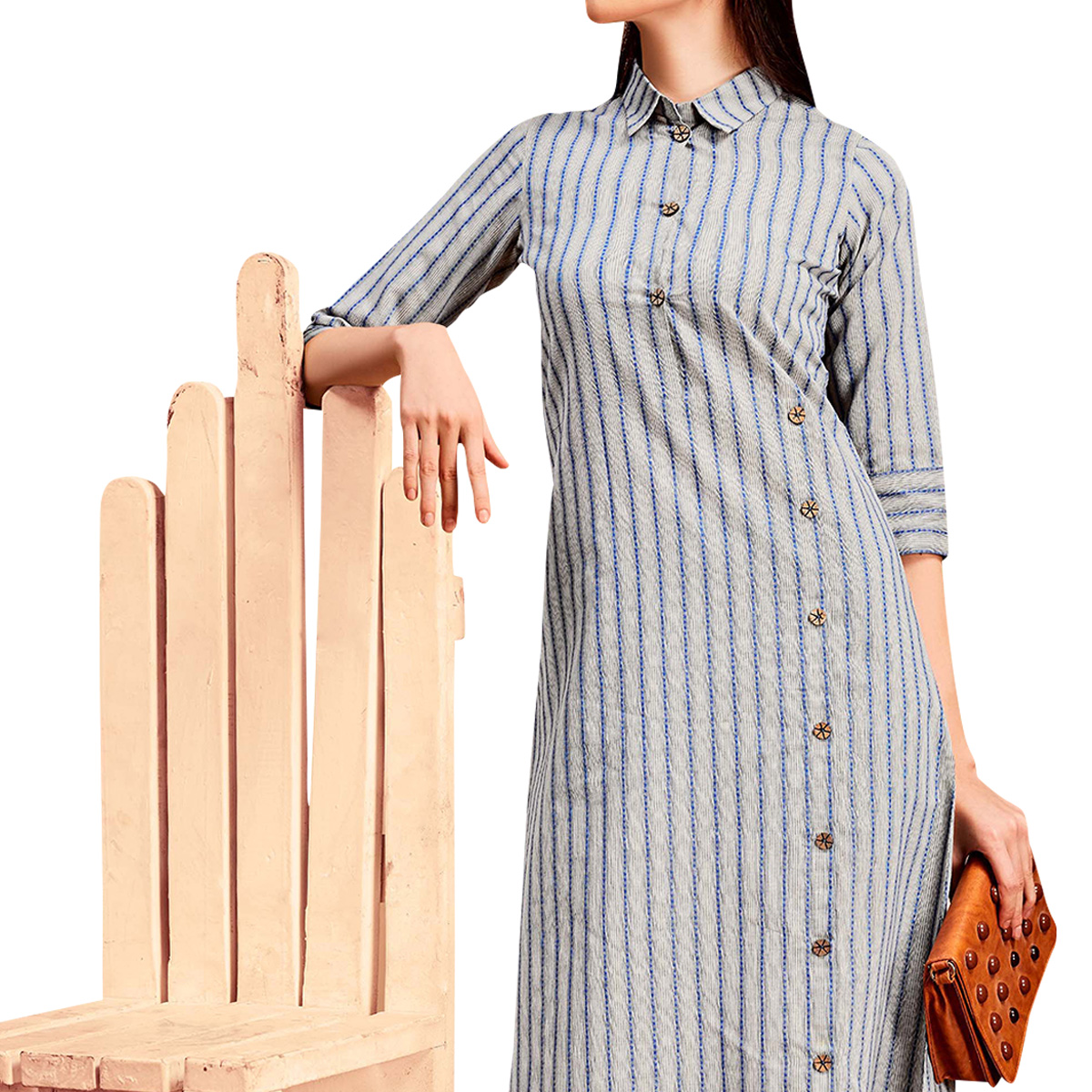 Trendy Gray Colored Partywear Printed Cotton Long Kurti
