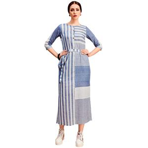 Staring Light Blue Colored Partywear Printed Cotton Long Kurti