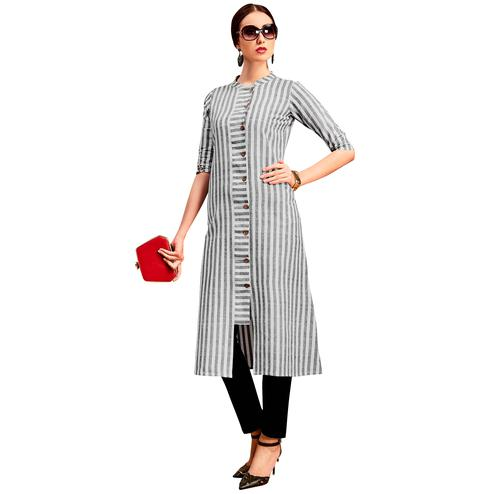 Demanding Light Grey Colored Partywear Printed Cotton Long Kurti