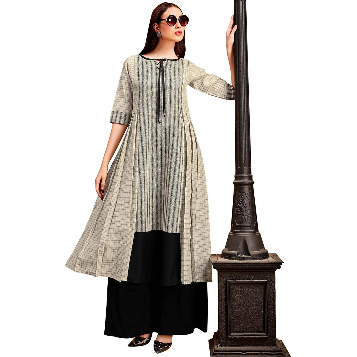 Innovative Beige Colored Partywear Printed Cotton Long Kurti