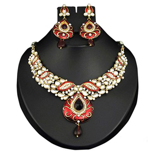 Kundan Austrian Stone Maroon Meenakari Drop Gold Finsih Necklace Sets