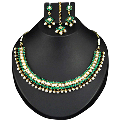 Kundan Green Austrian Stone Pearl Gold Finish Necklace Sets With Maang Tikka