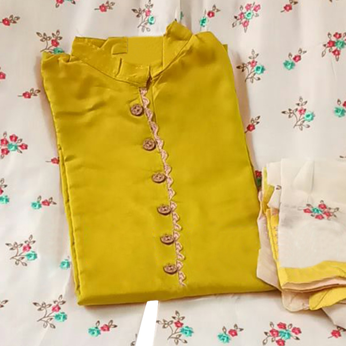 Opulent Yellow Colored Partywear Embroidered Rayon Palazzo Suit
