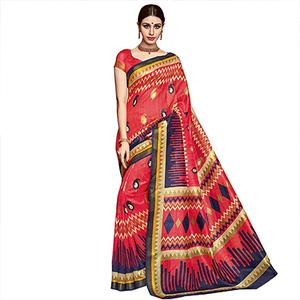 Multi Color Printed Bhagalpuri Silk Saree