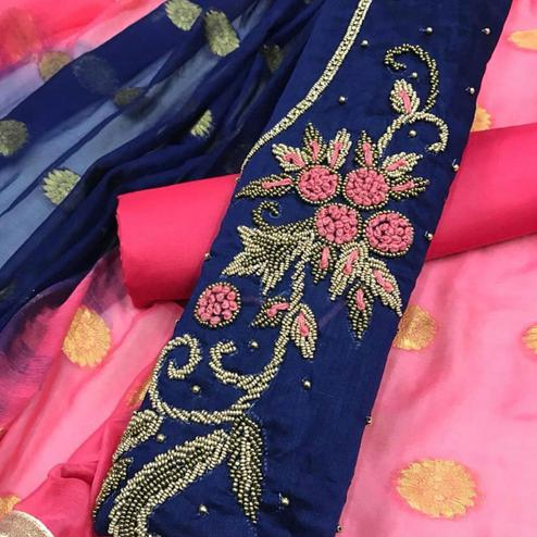Hypnotic Navy Blue Colored Partywear Embroidered Modal Dress Material