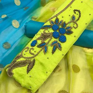 Eye-Catching Green Colored Partywear Embroidered Modal Dress Material