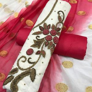 Amazing White Colored Partywear Embroidered Modal Dress Material
