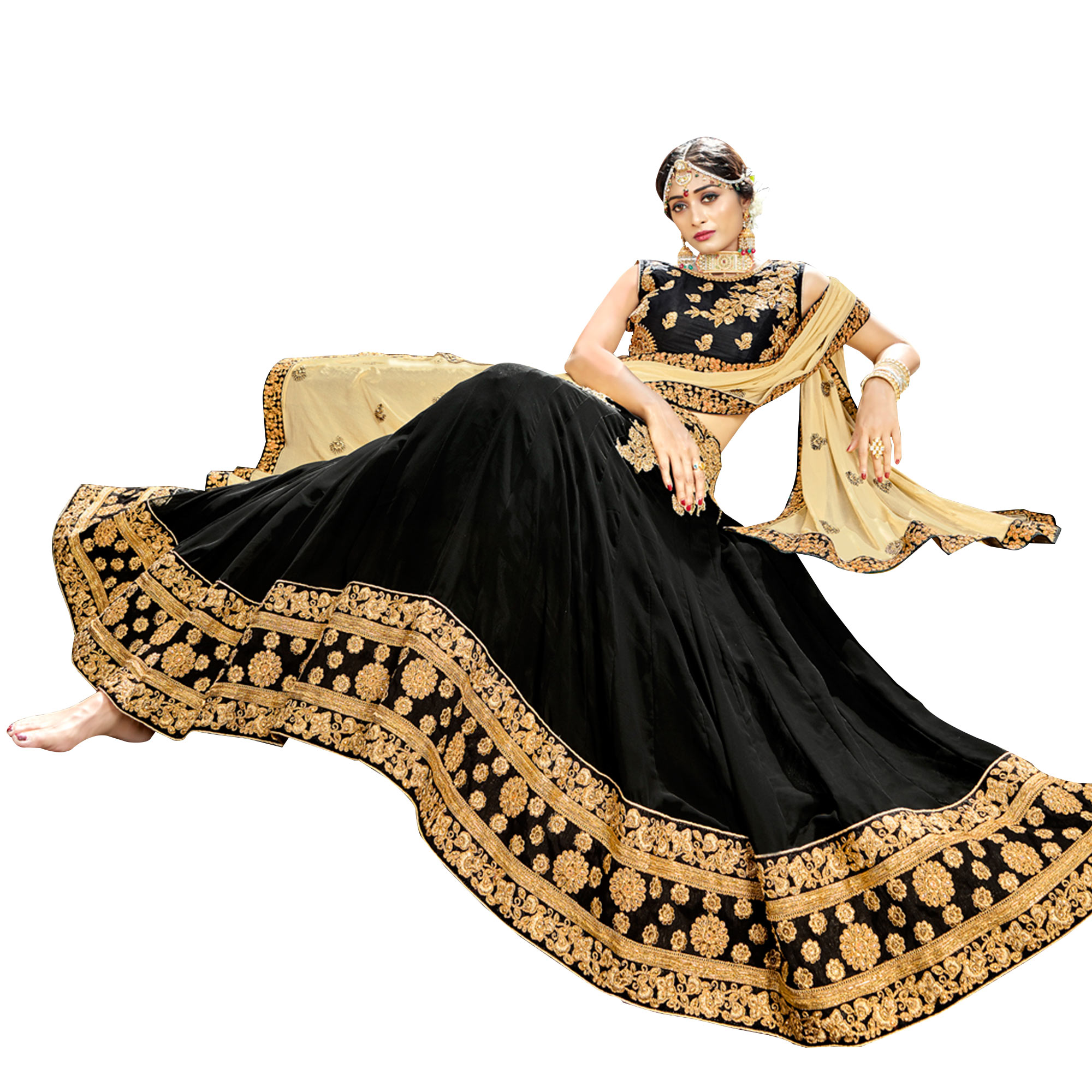 Arresting Black Colored Partywear Embroidered Georgette Lehenga Choli