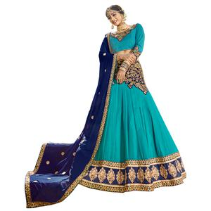 Refreshing Sky Blue Colored Partywear Embroidered Georgette Lehenga Choli