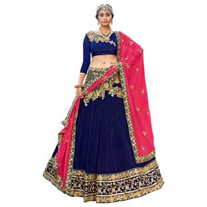 Demanding Navy Blue Colored Partywear Embroidered Georgette Lehenga Choli
