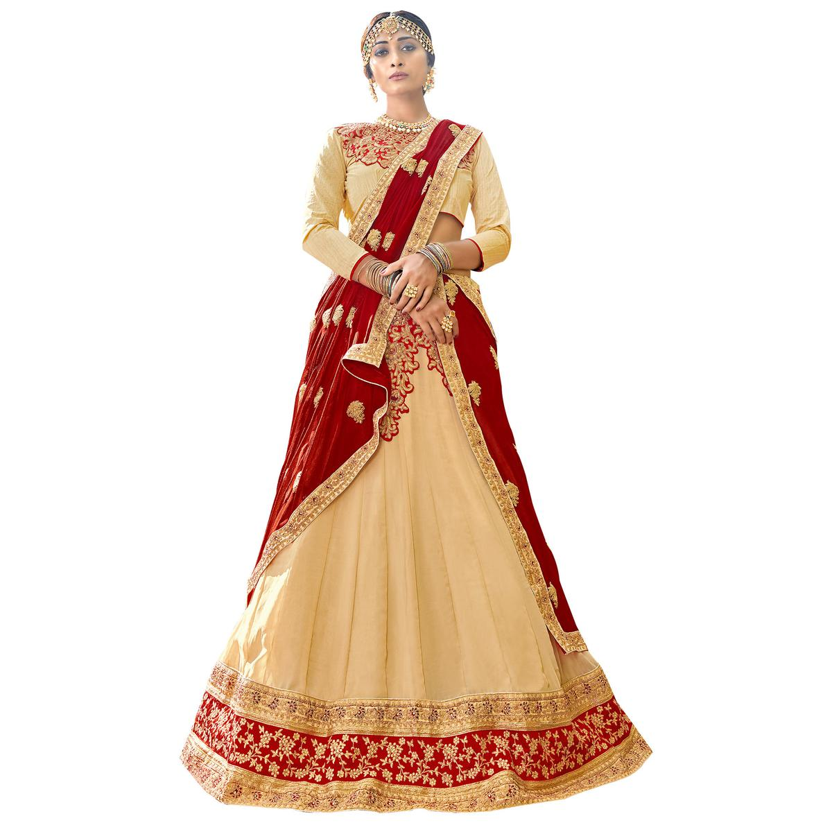 Pleasant Beige Colored Partywear Embroidered Georgette Lehenga Choli