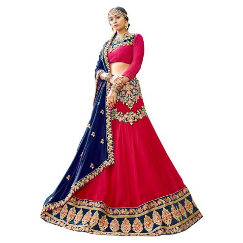 Charming Pink Colored Partywear Embroidered Georgette Lehenga Choli