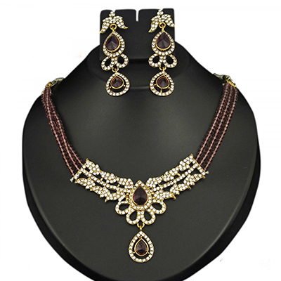 Purple Austrian Stone Crystal Gold Finish Necklace Sets