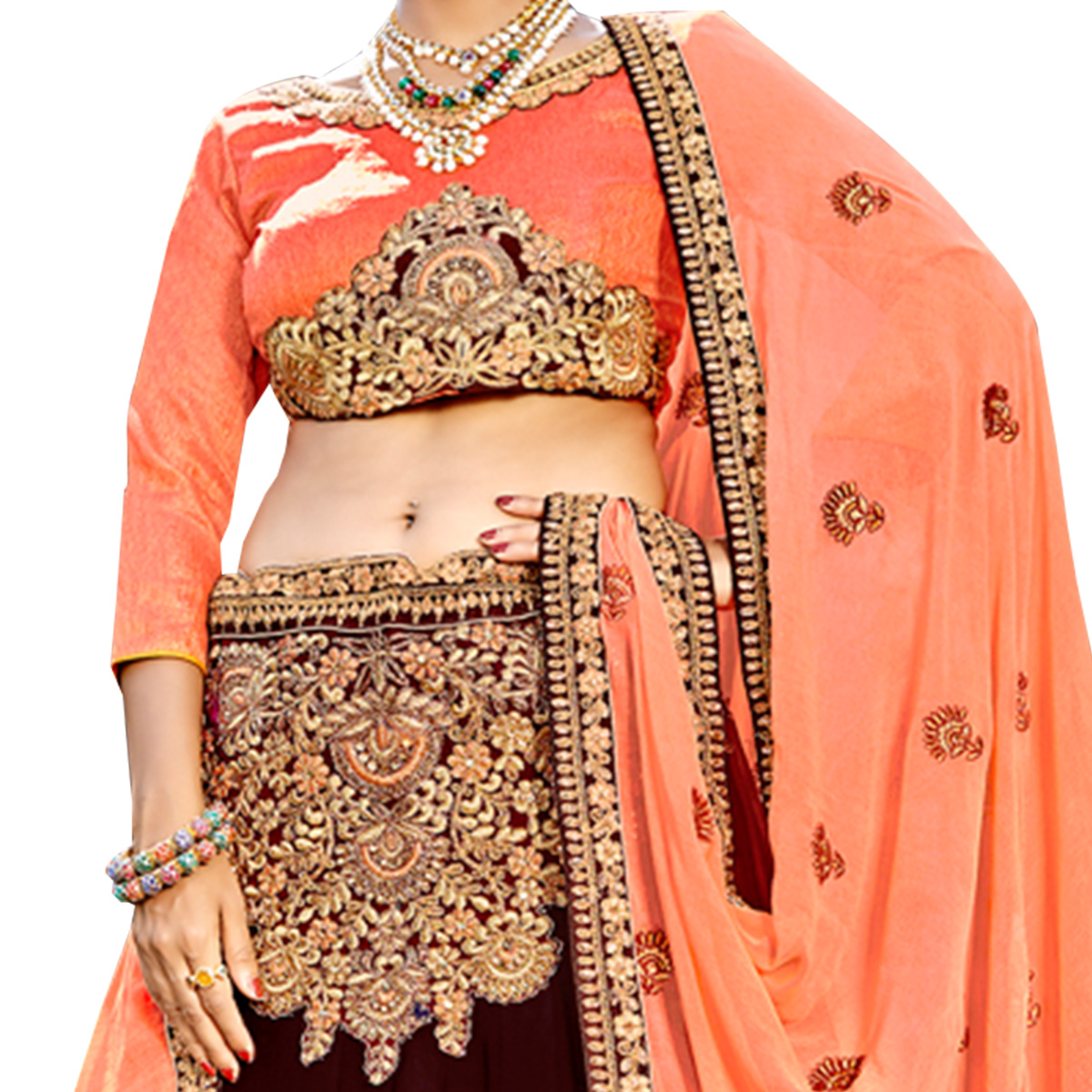 Traditional Maroon Colored Partywear Embroidered Georgette Lehenga Choli
