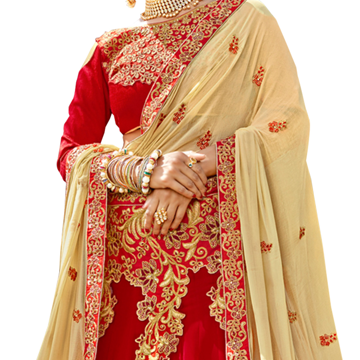 Glowing Red Colored Partywear Embroidered Georgette Lehenga Choli
