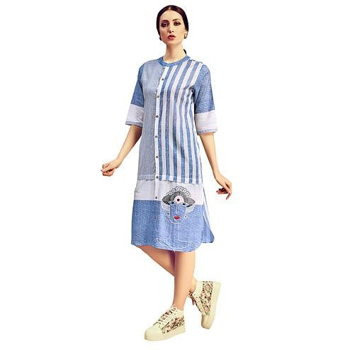 Lovely Light Blue Colored Partywear Printed Cotton Kurti