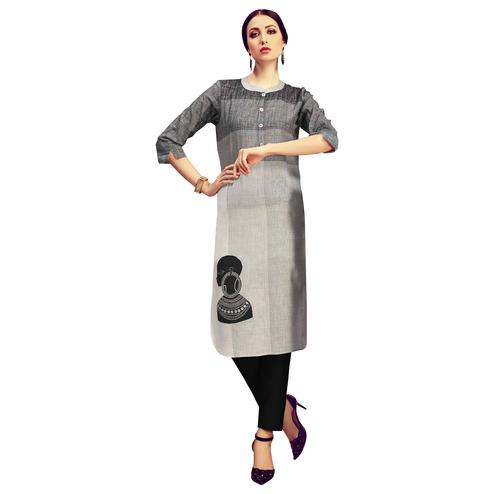 Jazzy Light Grey Colored Partywear Printed Cotton Kurti