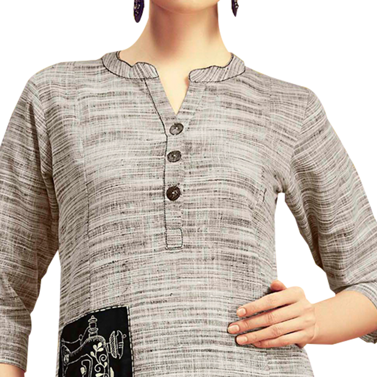 Amazing Light Grey Colored Partywear Printed Cotton Kurti