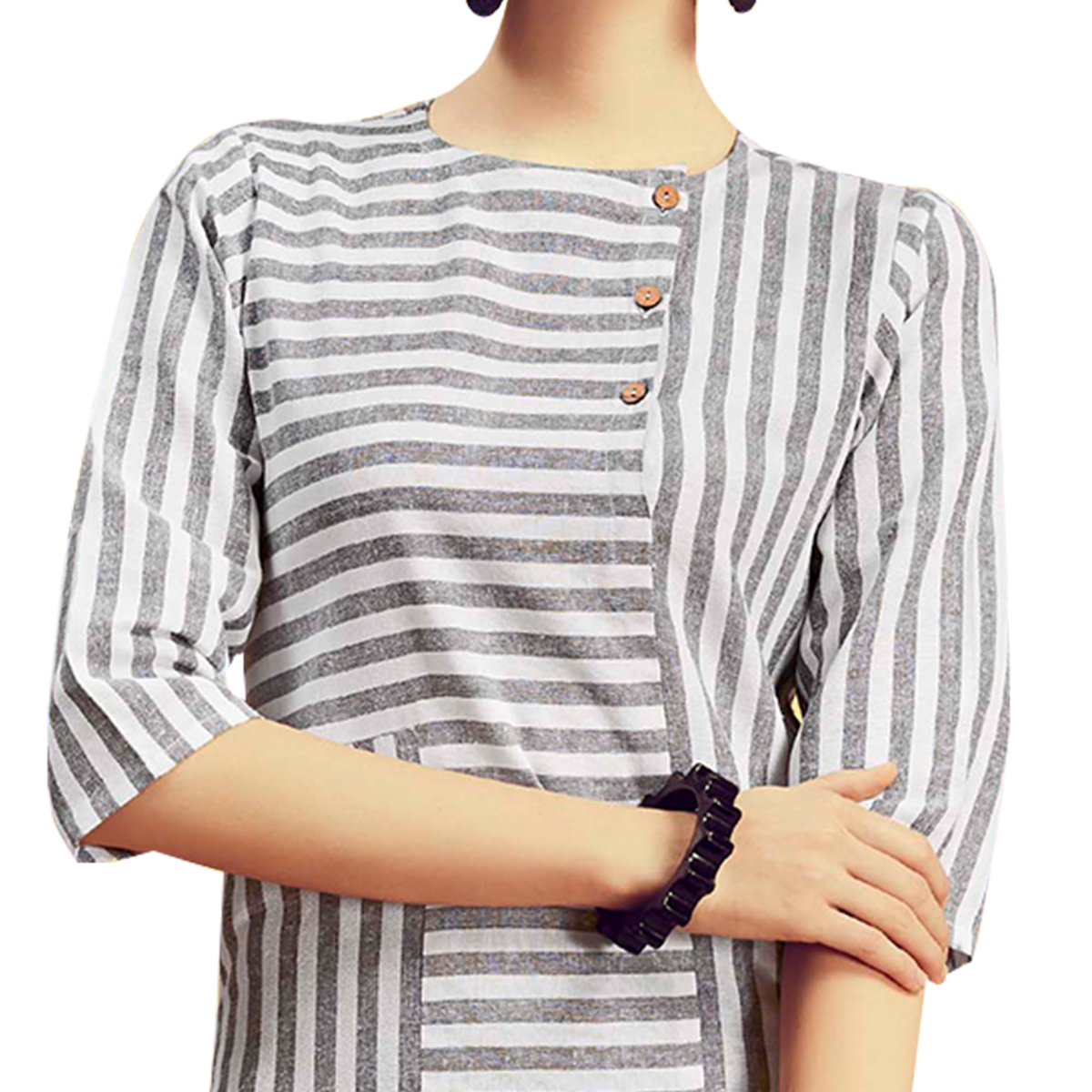 Attractive Off White Colored Partywear Printed Cotton Kurti