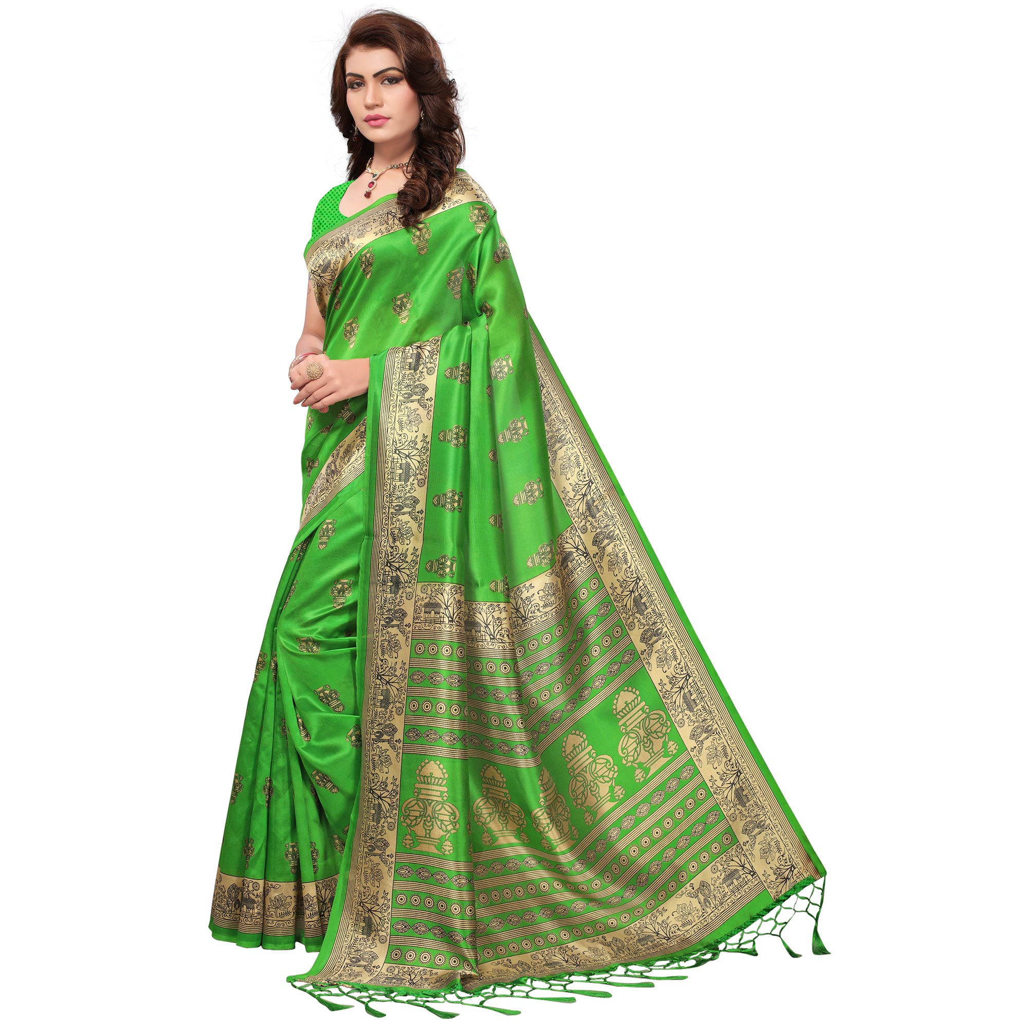 Blooming Green Colored Festive Wear Printed Mysore Art Silk Saree