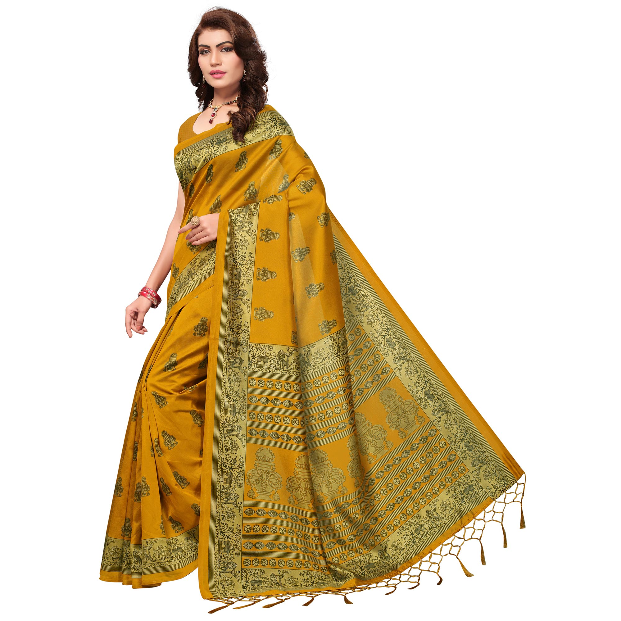 Pretty Yellow Colored Festive Wear Printed Mysore Art Silk Saree