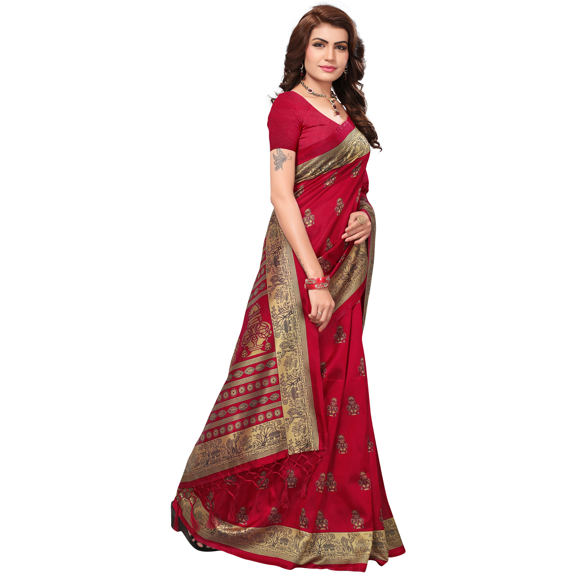 Mesmerising Dark Pink Colored Festive Wear Printed Mysore Art Silk Saree