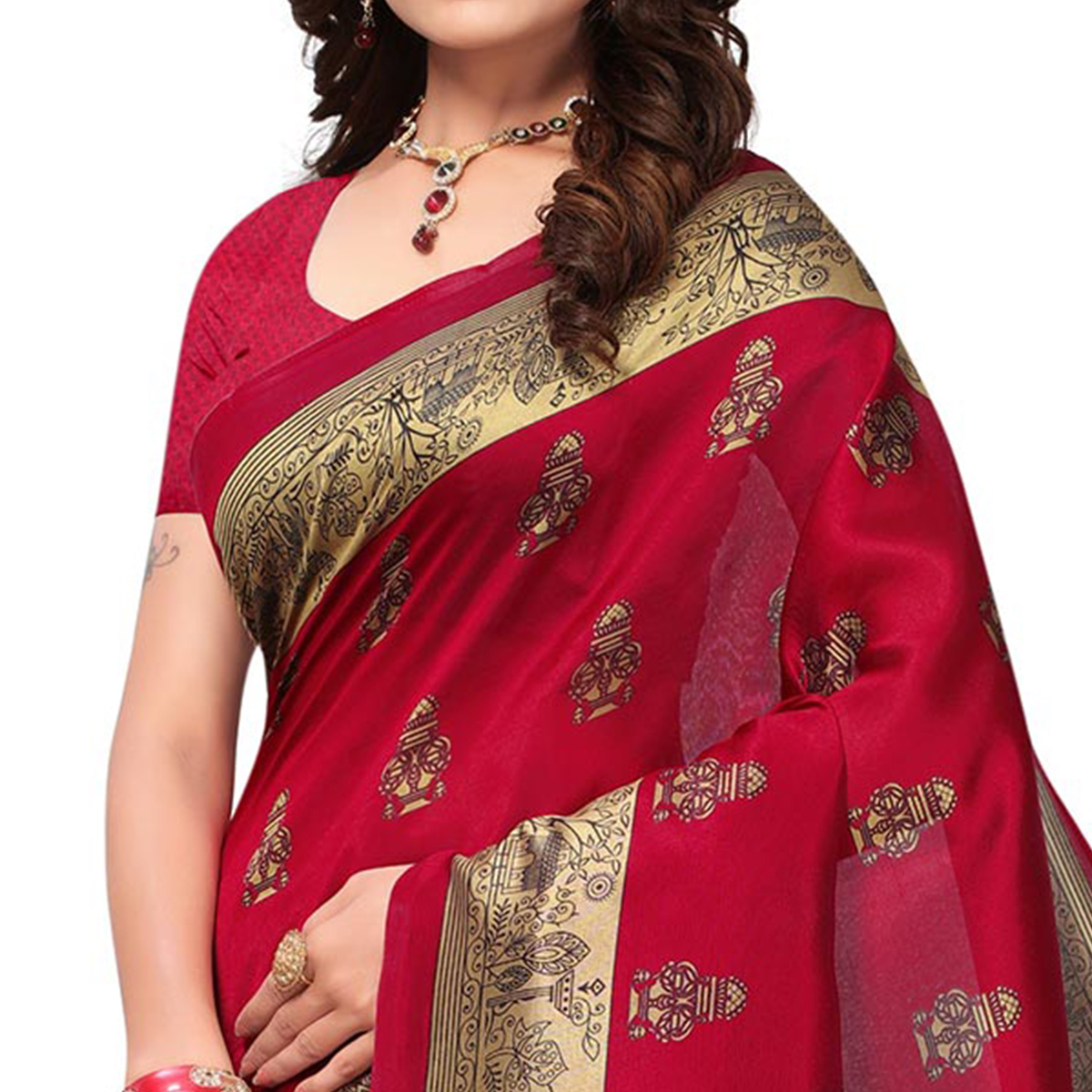 Mesmerising Maroon Colored Festive Wear Printed Mysore Art Silk Saree