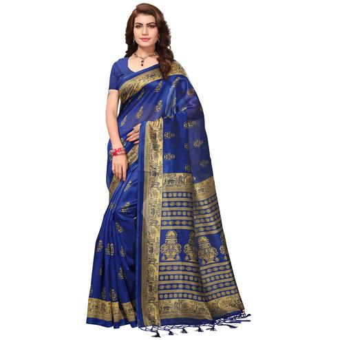 Majestic Navy Blue Colored Festive Wear Printed Mysore Art Silk Saree