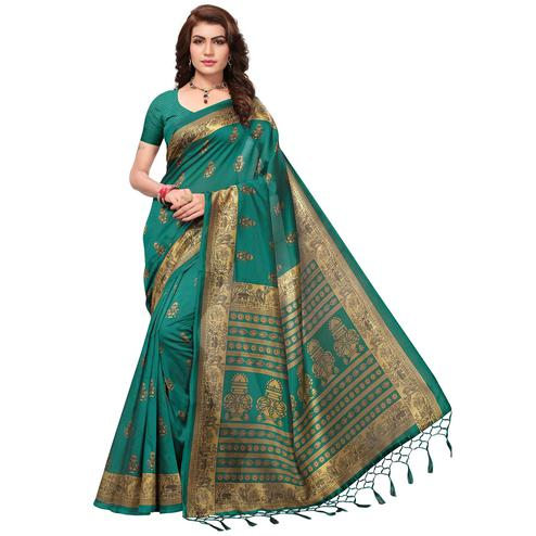 Refreshing Turquoise Green Colored Festive Wear Printed Mysore Art Silk Saree