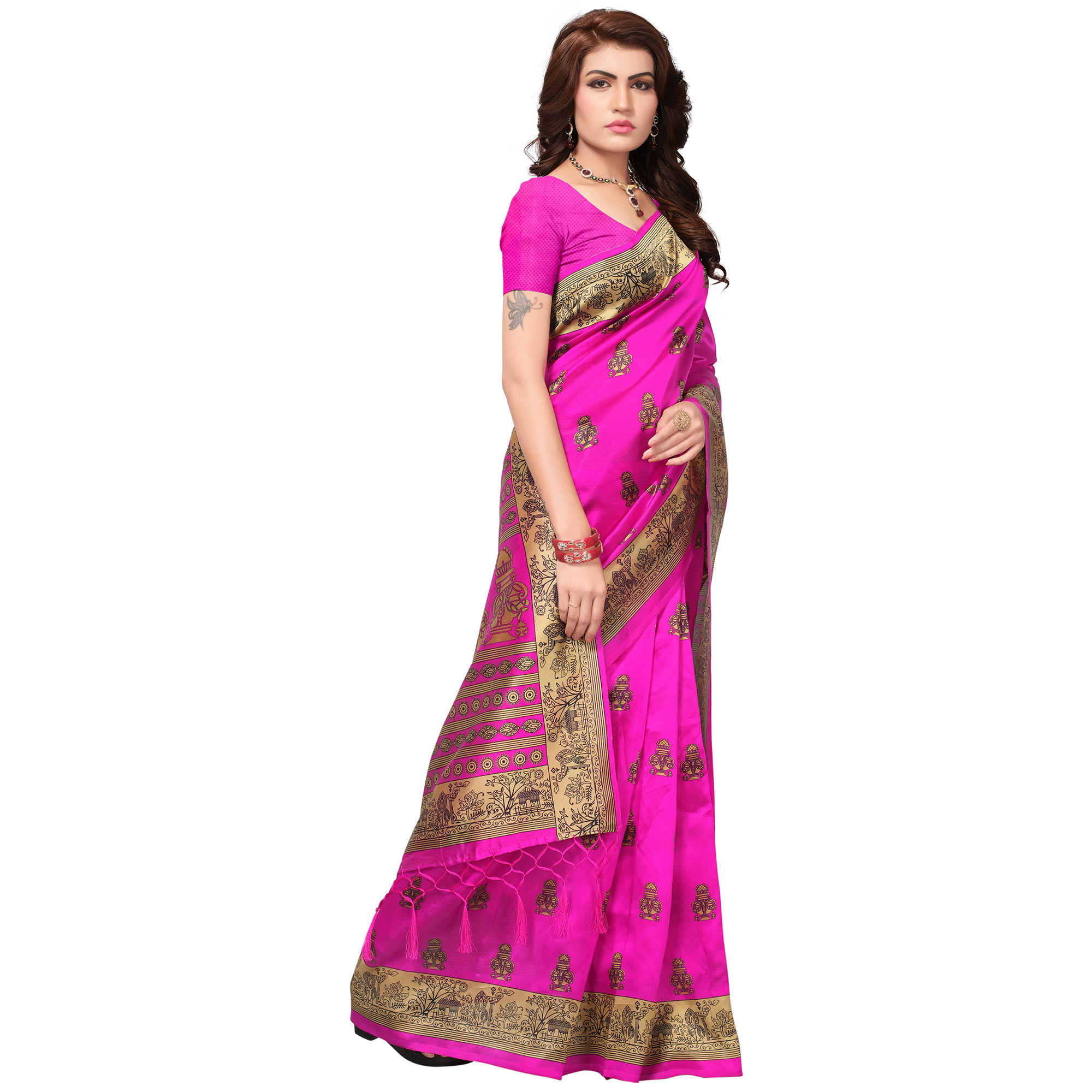Impressive Pink Colored Festive Wear Printed Mysore Art Silk Saree
