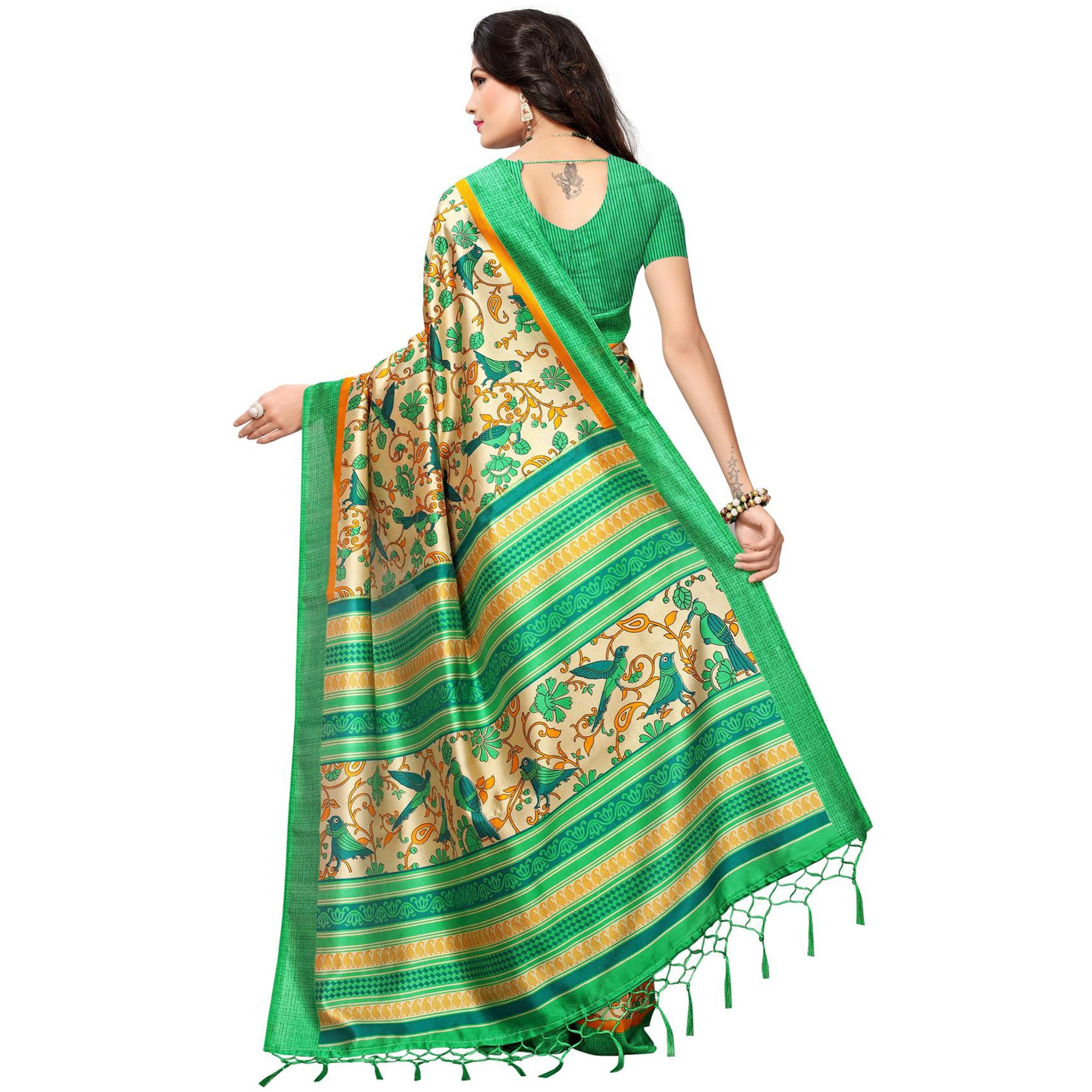 Observable Beige-Green Colored Festive Wear Printed Mysore Art Silk Saree