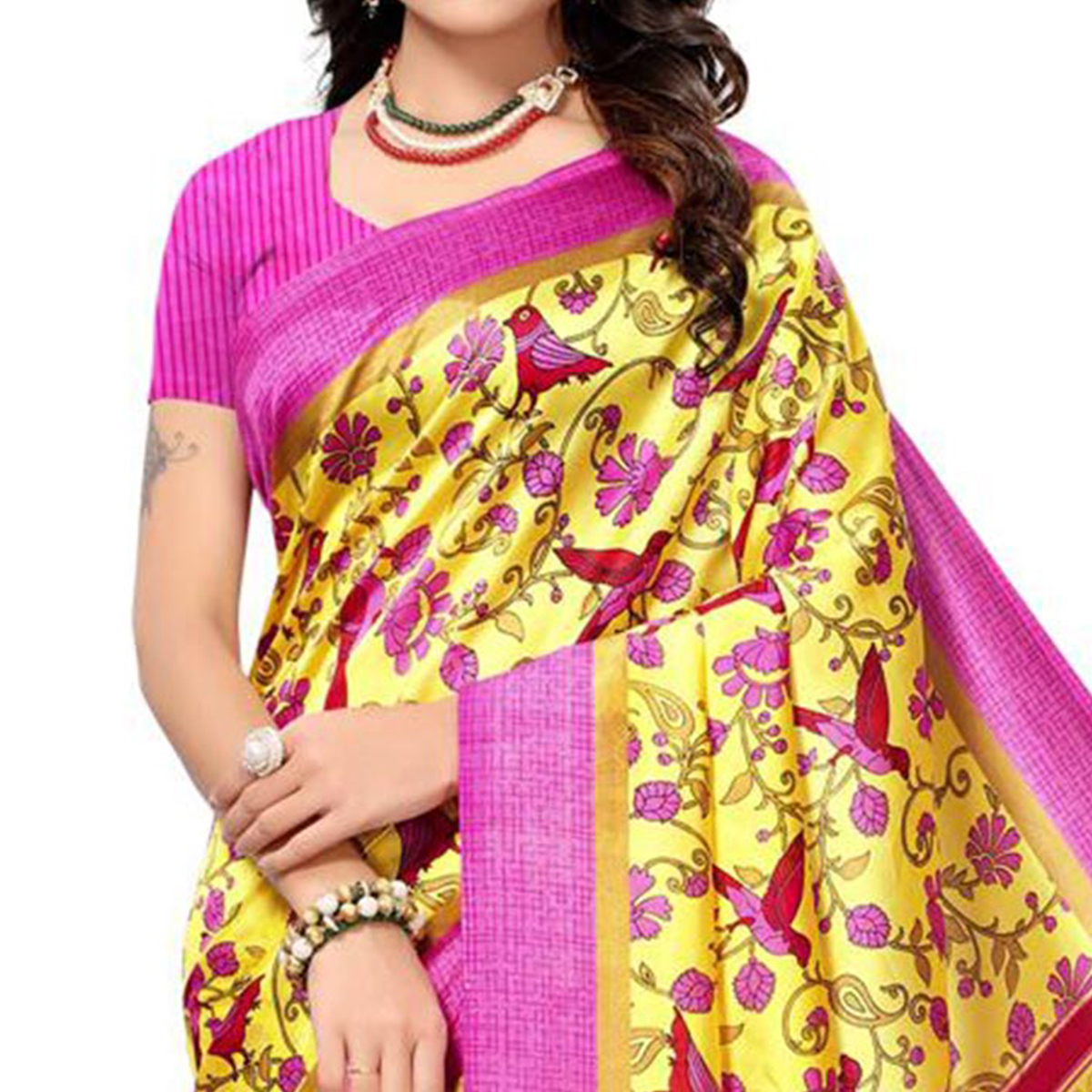 Incredible Yellow-Pink Colored Festive Wear Printed Mysore Art Silk Saree