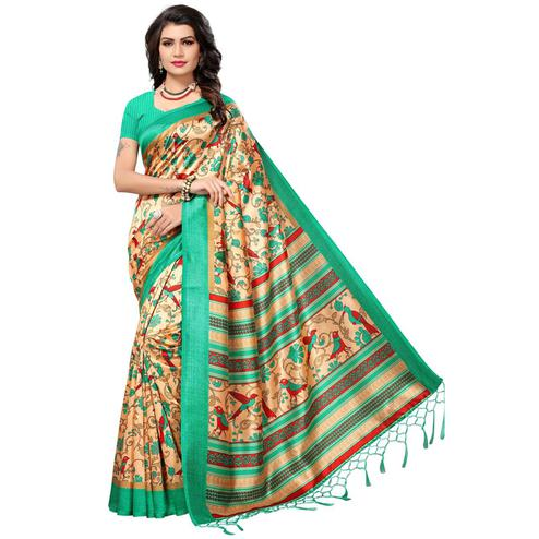 Eye-Catching Beige-Green Colored Festive Wear Printed Mysore Art Silk Saree