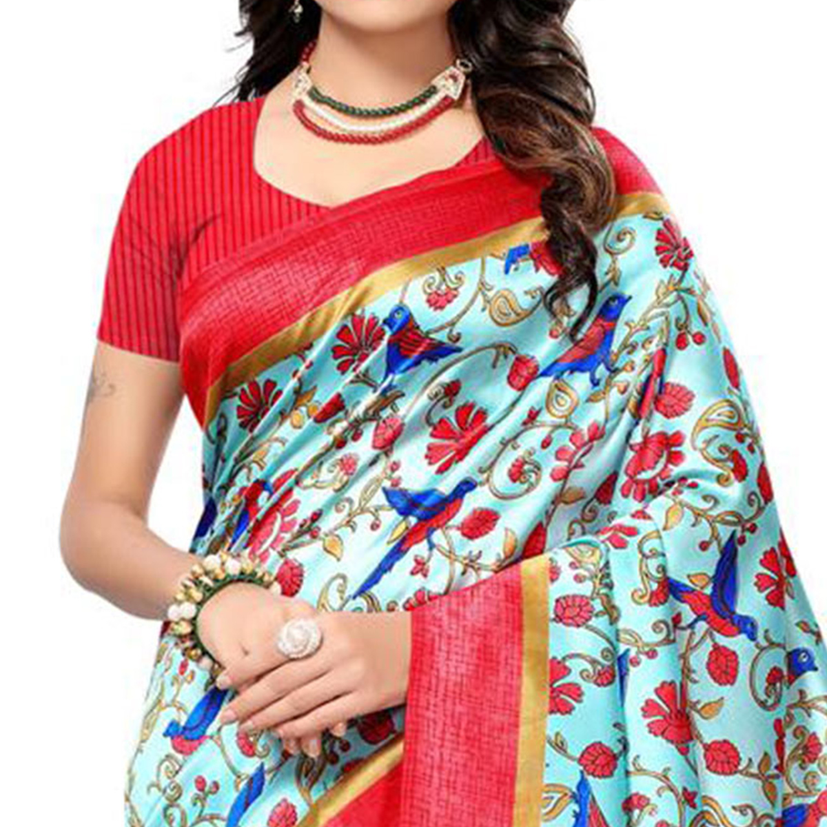 Lovely Sky Blue-Red Colored Festive Wear Printed Mysore Art Silk Saree