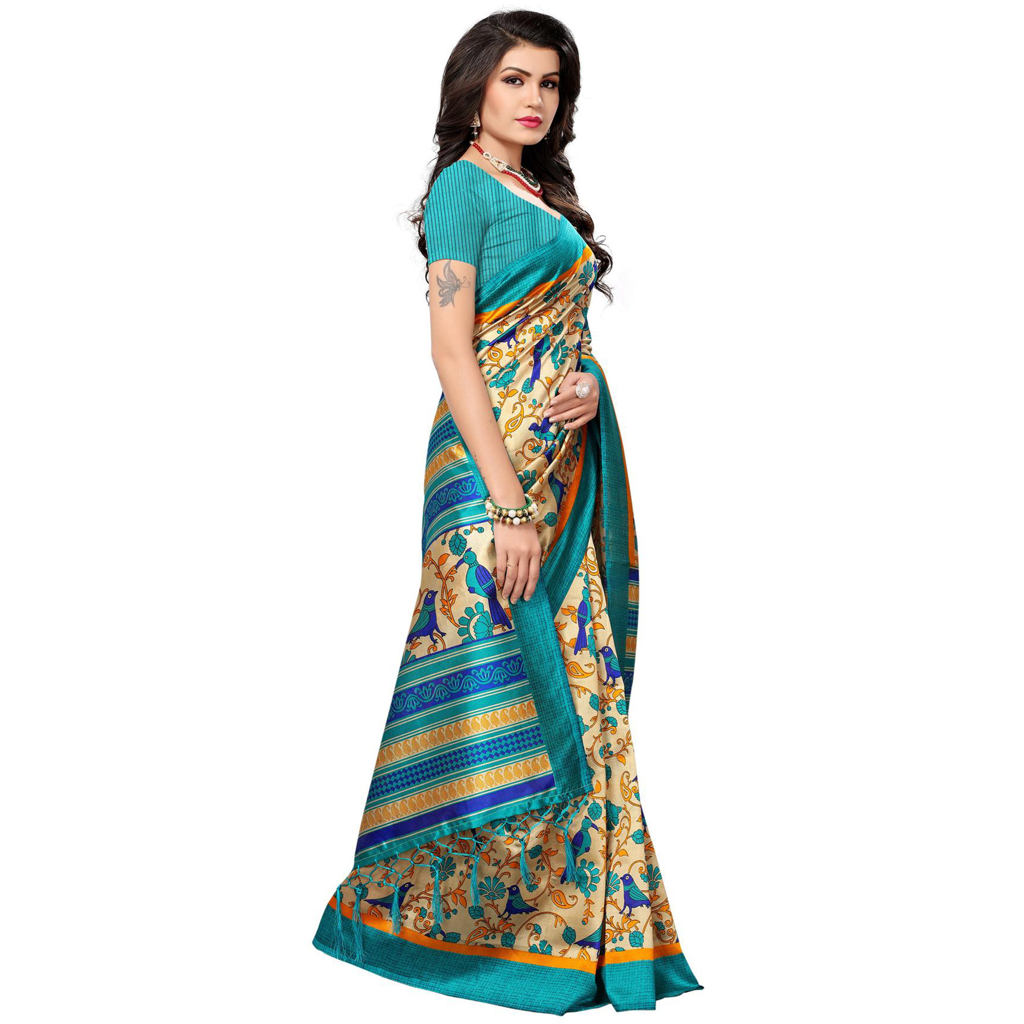 Jazzy Beige-Light Blue Colored Festive Wear Printed Mysore Art Silk Saree