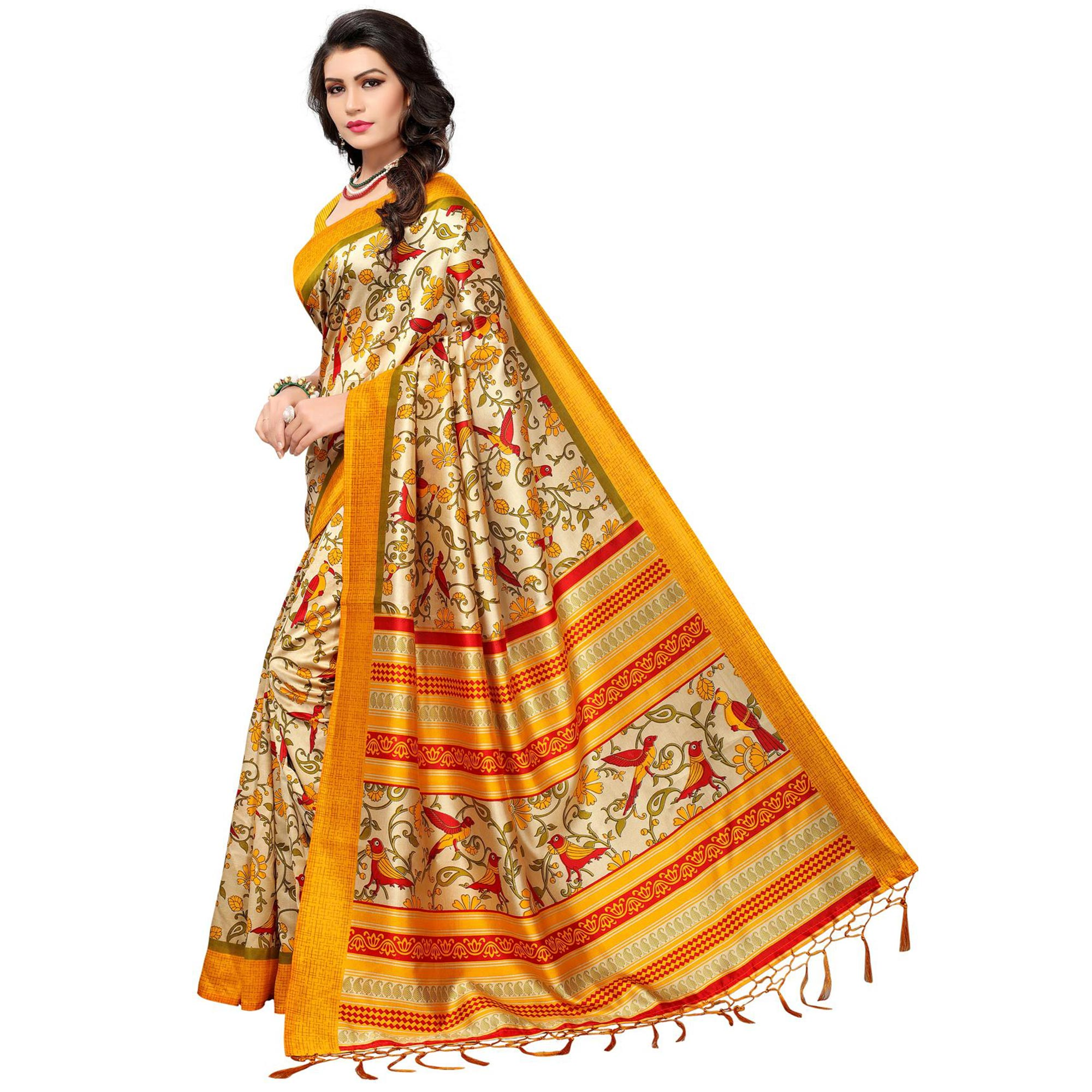 Opulent Yellow Colored Festive Wear Printed Mysore Art Silk Saree