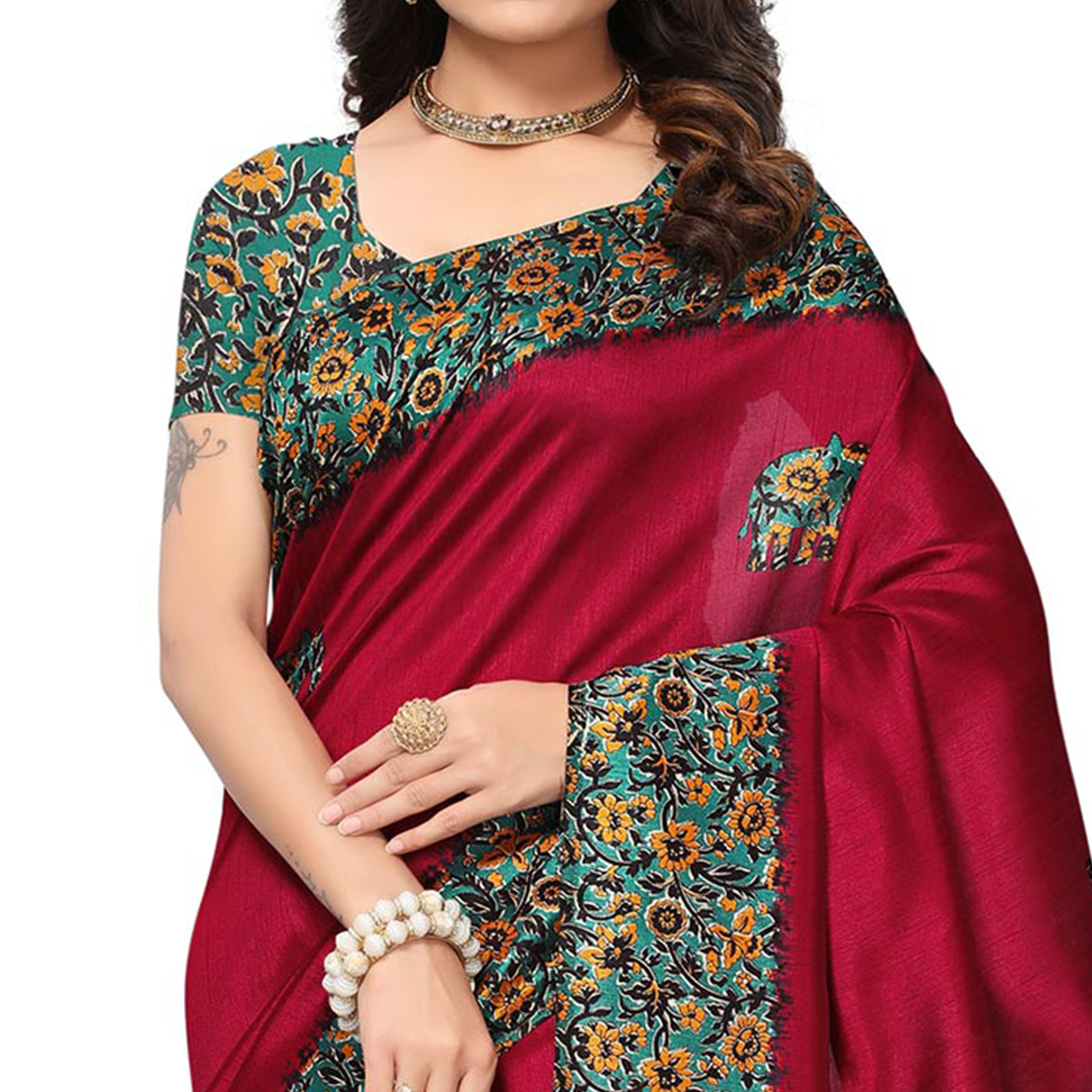 Attractive Magenta Colored Festive Wear Printed Silk Saree