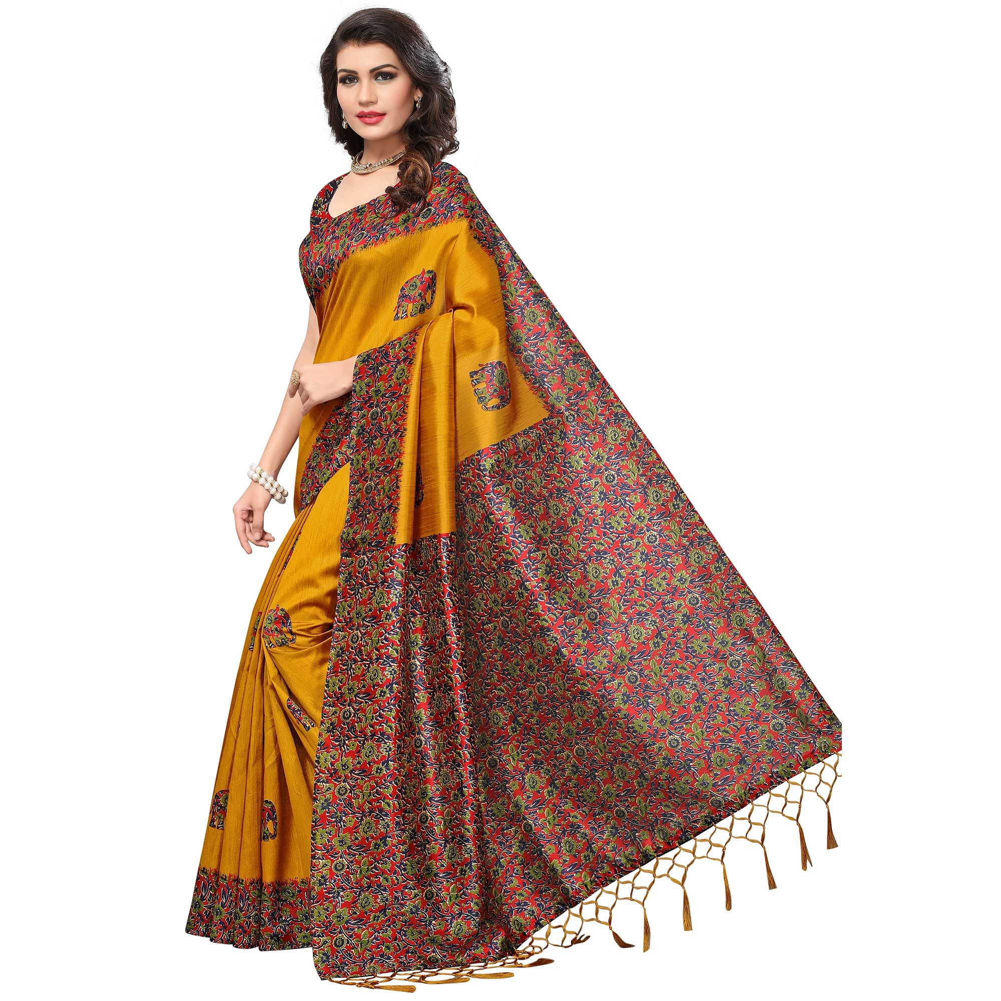 Eye-Catching Yellow Colored Festive Wear Printed Silk Saree