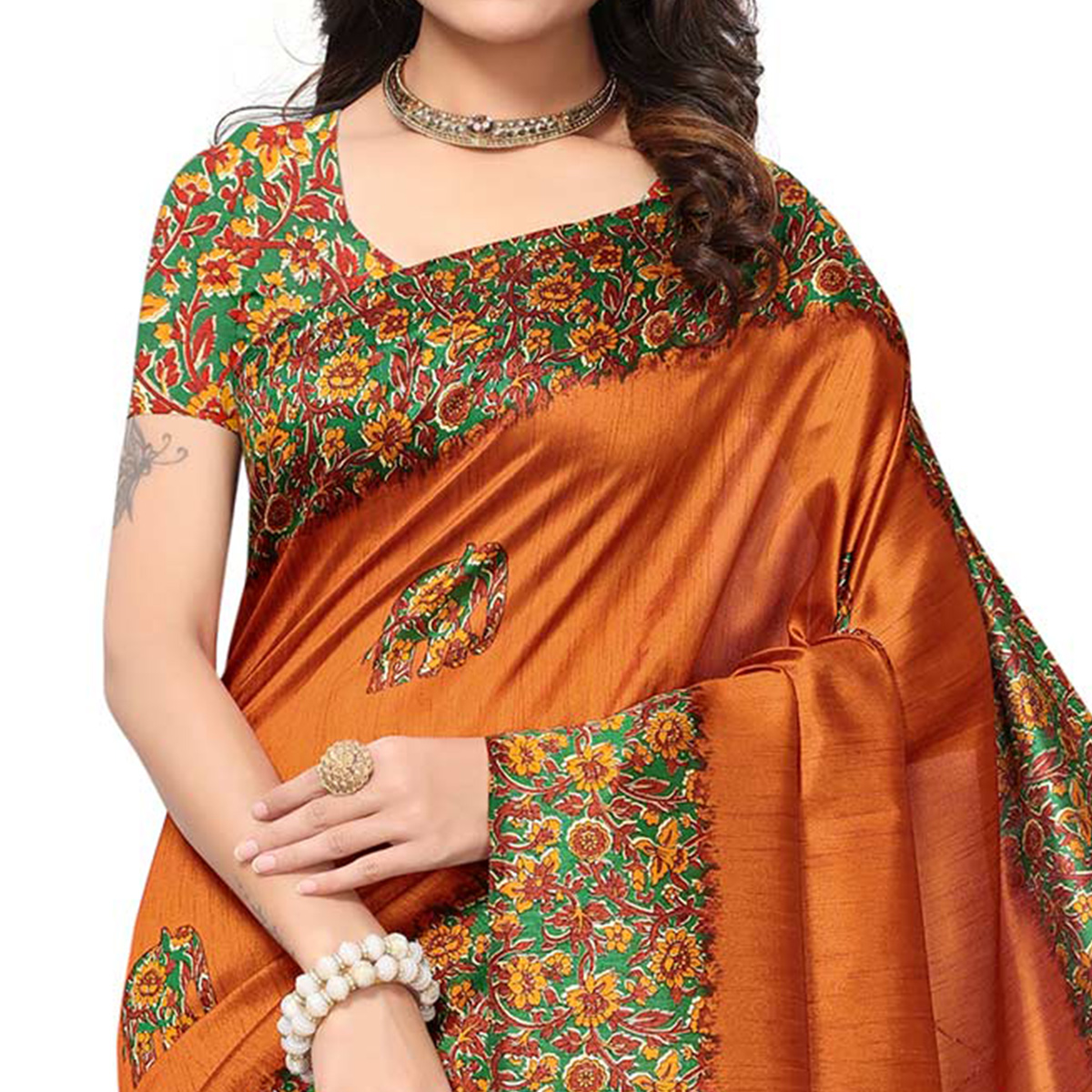 Demanding Orange Colored Festive Wear Printed Silk Saree