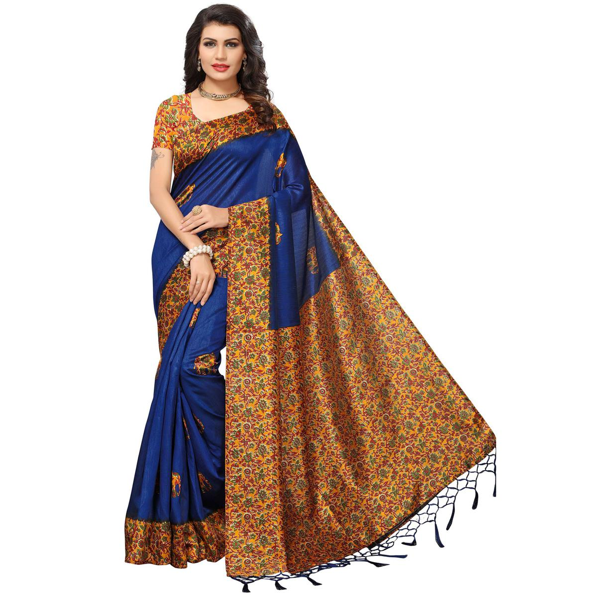 Desiring Blue Colored Festive Wear Printed Silk Saree