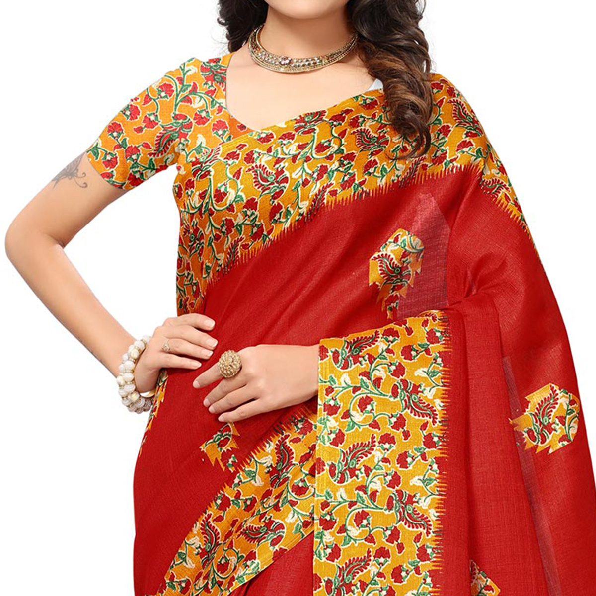 Glowing Red Colored Festive Wear Printed Silk Saree
