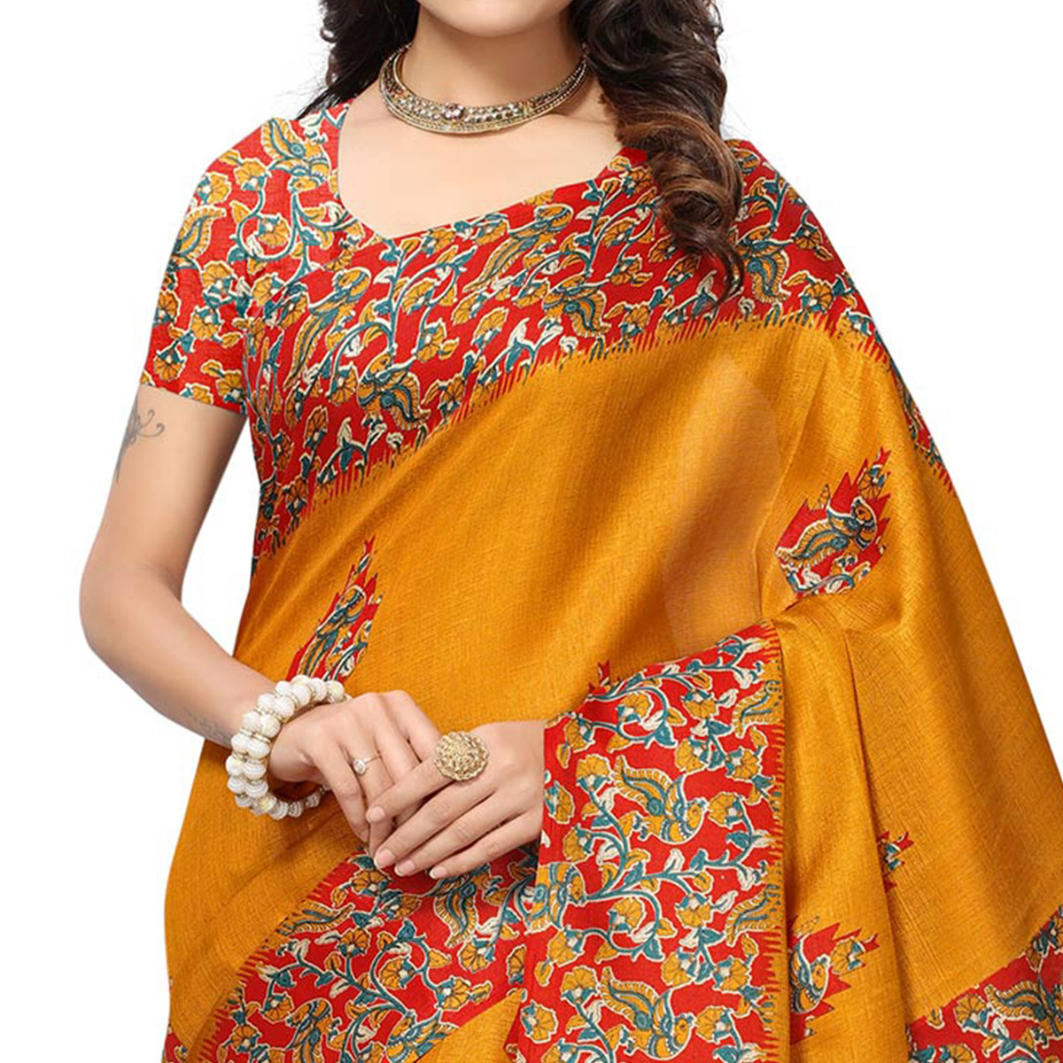 Gorgeous Yellow Colored Festive Wear Printed Silk Saree